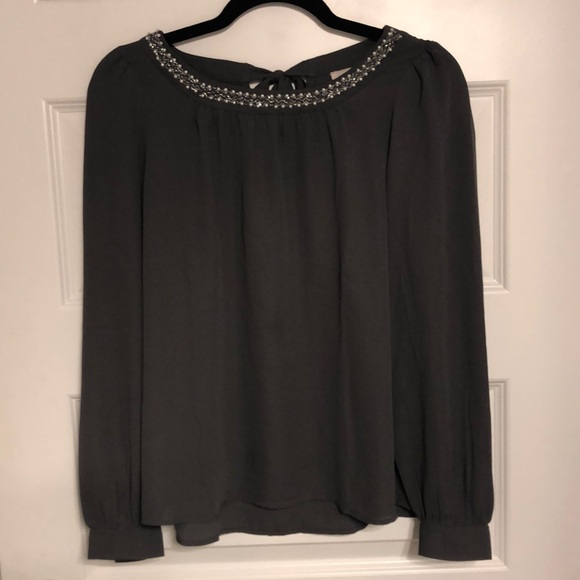 LOFT Tops - Never Worn! Long-Sleeve Gray Blouse (The Loft)
